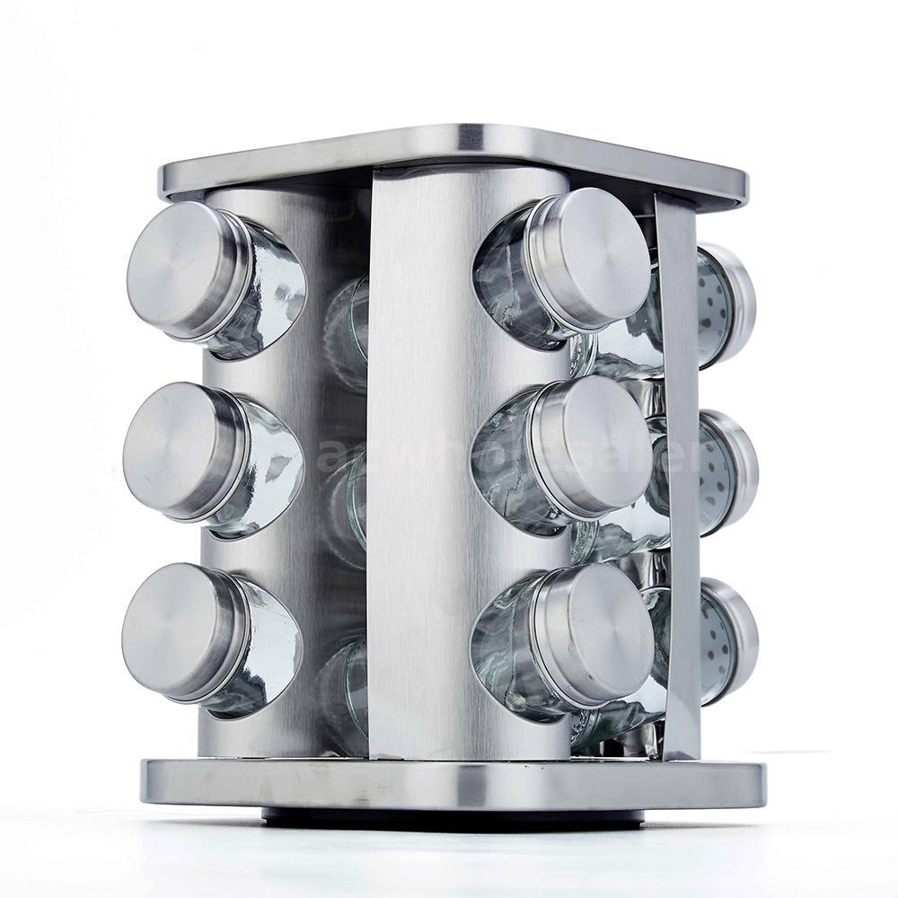 12-Jar Revolving Spice Rack Organizer Stainless Rotate Tower /& Free Refills Z1X6