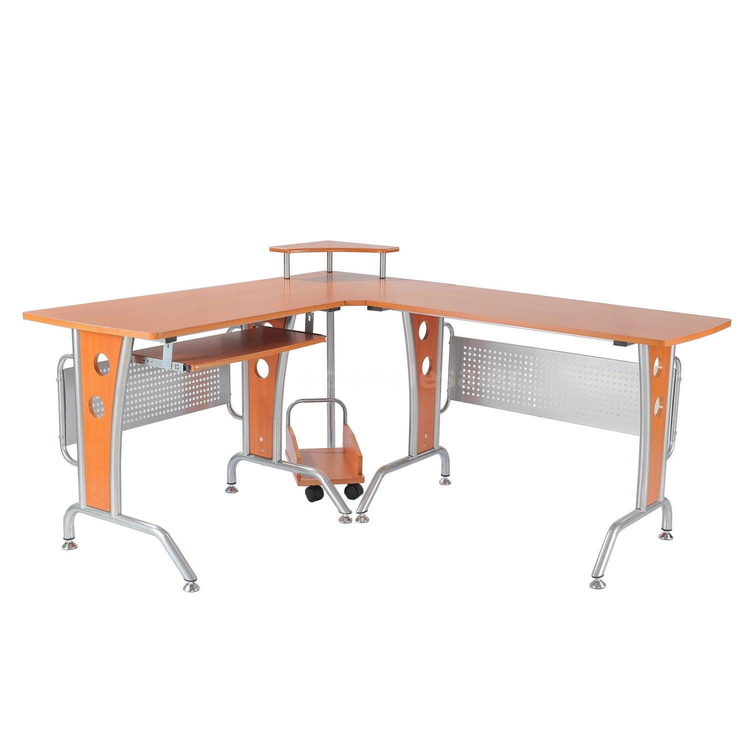 Details About L Shaped Corner Computer Office Desk With Hutch Storage And Keyboard Tray J2q3