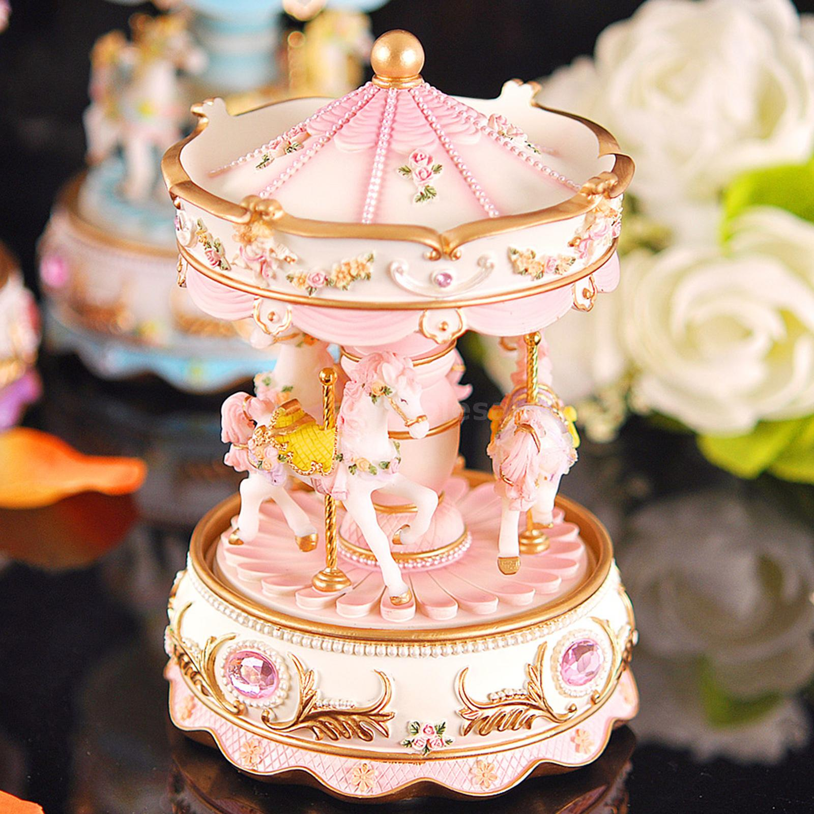 Home Decor Wedding Ornament Carousel Music Box with LED Light Vintage Music Boxes for Christmas Birthday Gift Shipment from USA, Purple Merry-Go-Round Music Box Christmas